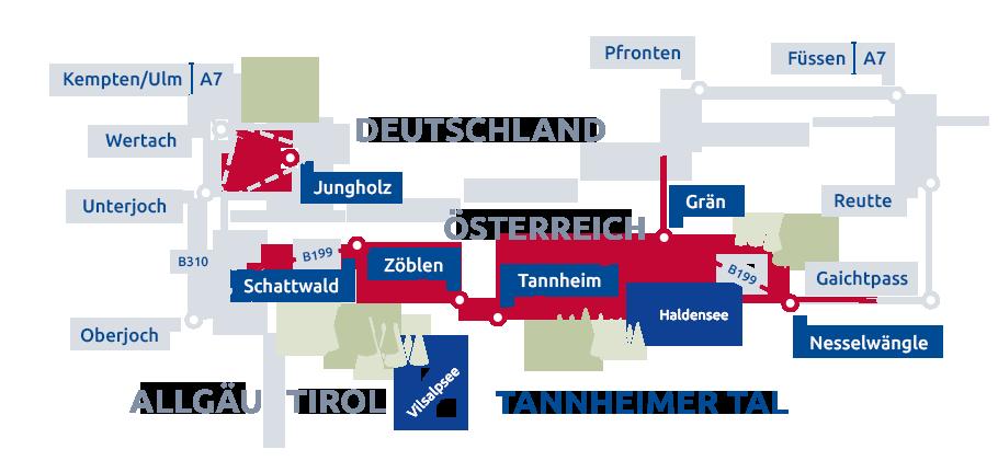 Tannheimer Tal Karte.Die Orte Des Tannheimer Tals Tannheimer Tal Tourismus